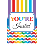 20 Invitations & Envelopes & Stickers Bright Birthday Paper 10.7 x 15.8 cm