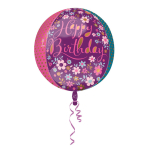 Orbz Dainty Floral Happy Birthday Foil Balloon, G20, packed, 38x40 cm