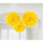 3 Fluffy Decorations Sunshine Yellow Paper 40.6 cm
