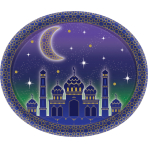 8 Plates Eid Paper Oval 30 cm