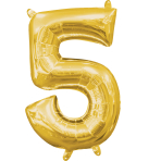 MiniShape Number 5 Gold Foil Balloon L16 Packaged 22cm x 33c
