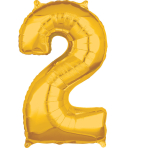 Mid Size Number 2 Gold Foil Balloon L26 Packaged 43cm x 66cm
