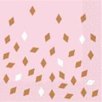 16 Napkins Rose Gold Birthday 33 x 33 cm