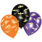 6 Latex Balloons Glow in the dark Bats