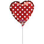 9'' Red and Polka Dots Foil Balloon A10 Bulk 23 cm