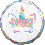 Standard Holographic Iridescent Unicorn Party Foil Balloon S55 packaged