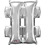 MiniShape Symbol # Silver Foil Balloon L16 Packaged 27cm x 33cm