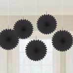 5 Fan Decorations Black Paper 15.2 cm