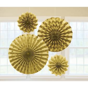 4 Fan Decorations Glitter Gold Paper 20.3 cm / 30.4 cm / 40.6 cm