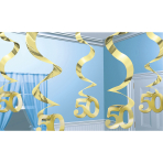 5 Swirl Decorations Gold Anniversary Foil 61 cm