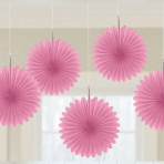 5 Paper Fan Decorations Light Pink 15.2 cm