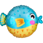 Junior Shape Puffer Fish Foil Balloon S50 packaged