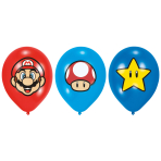 6 Latex Balloons Super Mario Bros 27,5 cm/11""