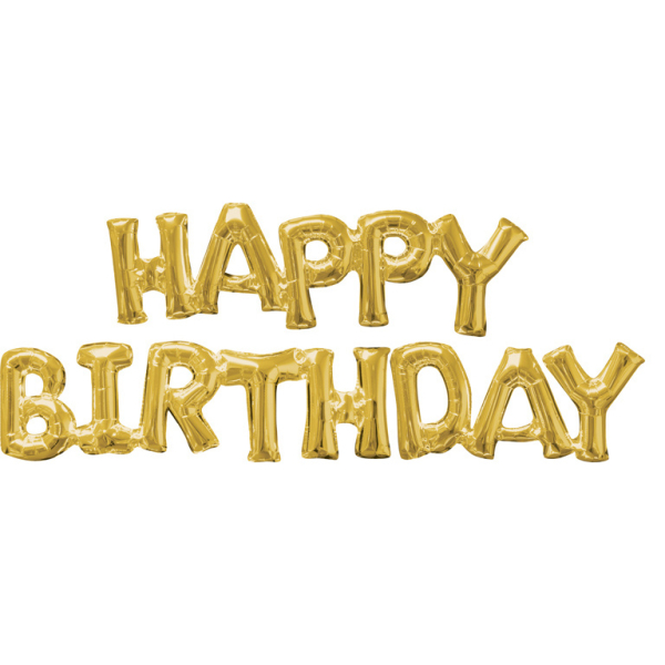 SuperShape Phrase HAPPY BIRTHDAY Gold 2 Foil Balloons P60 Packed