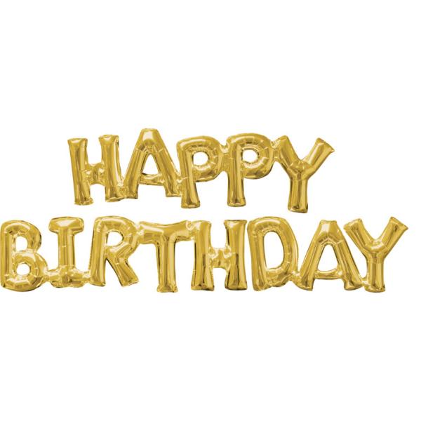 SuperShape Phrase HAPPY BIRTHDAY Gold 2 Foil Balloons