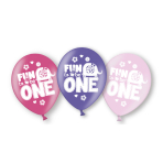 6 Latex Balloons Fun to be One Girl All Over Print 27.5 cm/11''