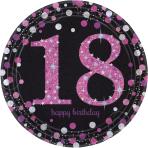 8 Plates 18 Sparkling Celebration - Pink Prismatic 23 cm