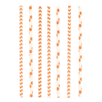 24 Drinking Straws Dots & Chevron Orange Peel Paper 19.5 cm