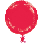 "Standard ""Metallic Red"" Foil Balloon Round, S15, packed, 43cm"