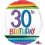 "Standard ""Rainbow Birthday 30"" Foil Balloon Round, S40, packed, 43cm"