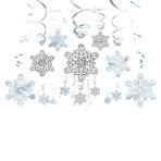 30 Swirl Decorations Snowflake Foil / Paper 61 cm