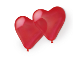 10 Latex Balloons Hearts Standard Red 40.6 cm / 16""