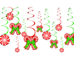 12 Swirl Decorations Candy Cane Foil / Paper 61 cm
