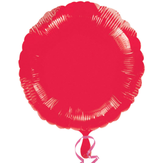 """Standard """"Metallic Red"""" Foil Balloon Round, S15, packed, 43cm"""