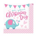 16 Napkins Christening Pink 33 x 33 cm