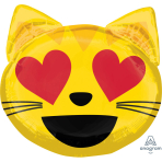 "SuperShape ""Emoticon Cat Love"" Foil Balloon, P35, packed, 55 x 55cm"