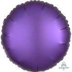 "Standard ""Satin Luxe Purple Royale"" Foil Balloon Round, S15, packed, 43cm"