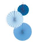 3 Fan Decorations Sky Blue Paper 18 cm / 30 cm / 38 cm