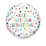 Standard EU Confetti Birthday Alles Gute Foil Balloon Circle S40 Packaged