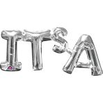 "SuperShape Phrase "" It's A"" Silver Foil Balloon P35 Packaged50 x 22 cm"
