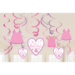 12 Swirl Decorations Shower With Love - Girl Foil / Paper 61 cm