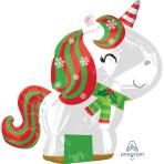 "Junior Shape  ""Christmas Unicorn"" Foil Balloon S50 packed 43 x 53cm"