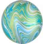 Marblez Blue Green Foil Balloon G20 packaged