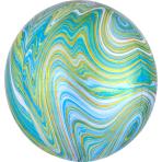 Marblez Blue Green Foil Balloon G20 packaged
