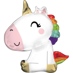 Supershape Satin Sitting Unicorn Foil Balloon P35 packaged