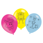 6 Latex Balloons SpongeBob 27.5 cm/11''