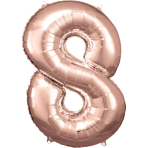 Large Number 8 Rose Gold Foil Balloon N34 Packaged 53 cm x 83 cm