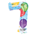SuperShape Number 7 Balloons & Streamers Foil Balloon L34 Packaged 58cm x 88cm