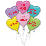 "Bouquet ""Candy Hearts"" 6 Foil Balloons, P60, packed"