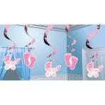 5 Swirl Decorations Baby Girl Foil / Paper 61 cm