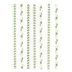 24 Drinking Straws Dots & Chevron Kiwi Paper 19.7 cm