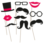 Photo Booth Kit Moustache Paper / Wood 10 Pieces 27 x 15.4 c