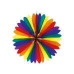 Fan Decoration Rainbow Paper 50 cm