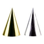 4 Party Cone Hats Golden Wishes Paper Height 15.5 cm