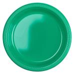 10 Plates Festive Green Plastic Round 22.8 cm