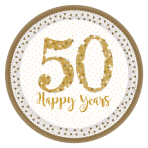 8 Plates Gold Anniversaries Paper Round Prismatic 22.8 cm